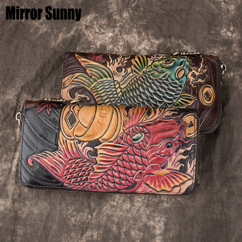 Genuine Leather Handmade Wallet For Men & Women Carving Fish Long Zipper Wristband Purse Top Layer Cow Leather Retro Clutch Bag image