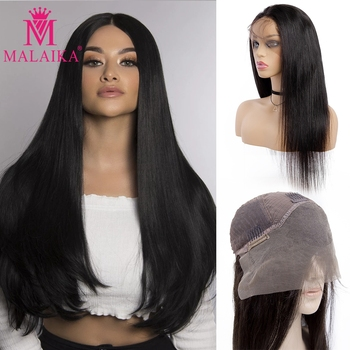 MALAIKA Glueless Lace Front Human Hair Wigs Pre Plucked 100% Human Hair Wigs For Black Women Indian Straight Wig Lace Frontal