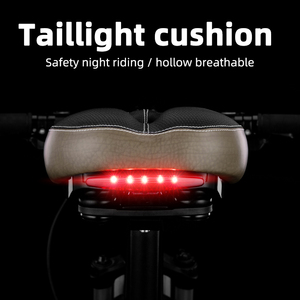 ROCKBROS MTB Bicycle Saddle Taillight Cushion Bike Leather Saddle Rail Hollow Soft Bicycle Part Front Seat Mat Cover 2 Styles