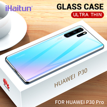 iHaitun Luxury Glass Case For Huawei P30 Pro Cases Ultra Thin Transparent Back Cover P 30 Soft Edge Protector