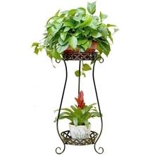 Железная Цветочная полка для комнатных цветочных горшков, стойка для гостиной, напольная зеленая подвесная Орхидея, двойная Балконная Цветочная стойка