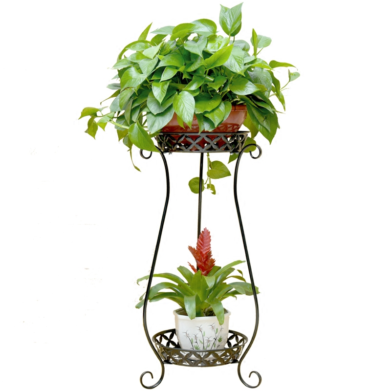 Iron Flower Shelf Indoor Flower Pot Rack Living Room Rack Floor Type Green Hanging Orchid Double Balcony Flower Stand