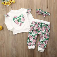 2020 Spring 2PCS Toddler Kids Baby Boy Girls Hooded Sweatshirt Long Sleeve Tops Floral Pants Clothes Outfits Set 0-24 Monthes