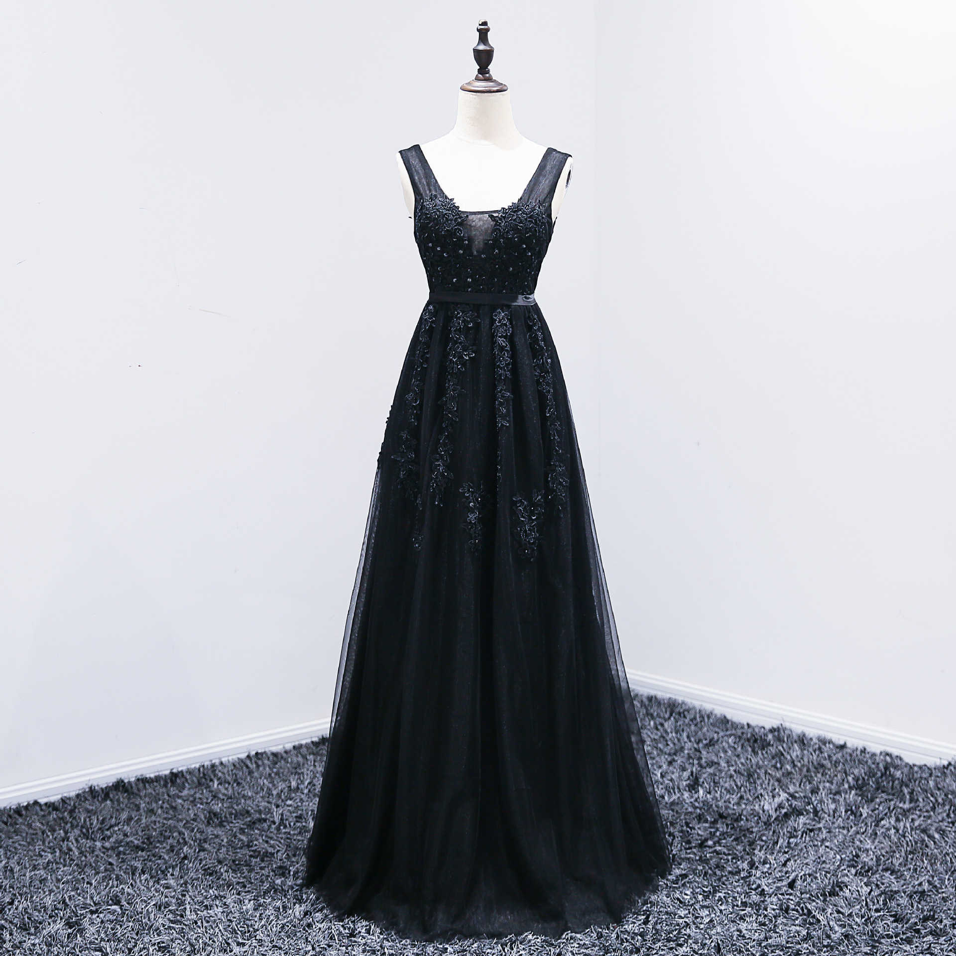Robe De Soiree Fashion Elegant V-neck Evening Dress High Quality Grey Formal Dresses Tulle Lace Applique Sexy Evening Gown