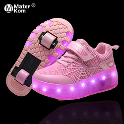 Size 28-43 Glowing Roller Sneakers for Children Girls USB Charged Luminous Sneakers on Double Wheels Kid Boys Skate Shoes Lights