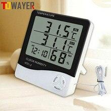 Lcd eletrônico digital medidor de umidade temperatura ao ar livre indoor termômetro higrômetro estação meteorológica relógio HTC-1 HTC-2