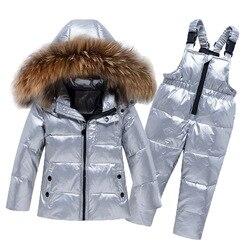 طقم ملابس شتوي للأطفال الصغار البنات والبنات من الفرو الطبيعي الكبير-25 سترة فضية أسفل بدلة تزلج ضد الرياح بدلة تدفئة للأطفال الرضع