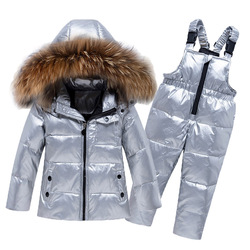Kinder Kleinkind Mädchen Jungen Kleidung Winter Set Große Natürliche Pelz-25 Silber Unten Jacke Ski Anzug Winddicht Warme Kind infant Outfit