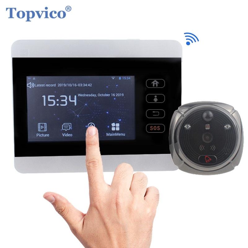 "Topvico Peephole Door Camera Wifi Doorbell Intercom Doorbell Video 4"" Monitor Motion Detection Video-eye Viewer Wireless Ring"