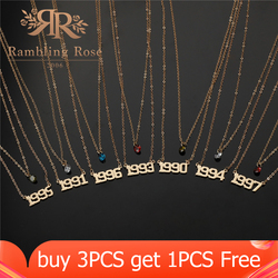 Personalize Year Number Necklaces For Women Custom Year 1990 1991 1992 1993 1994 1995 1996 1997 1998 1999 2000 Birthday Gift