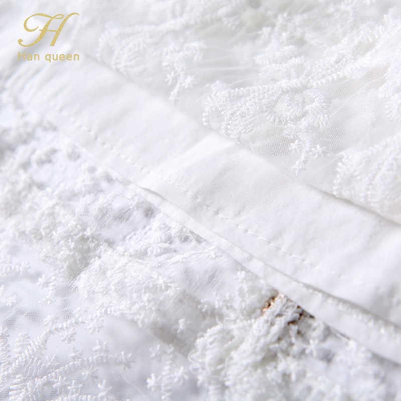 H han queen automne blanc évider dentelle robe femmes volants travail décontracté fête Slim Sexy robes piste une ligne Vintage Vestidos