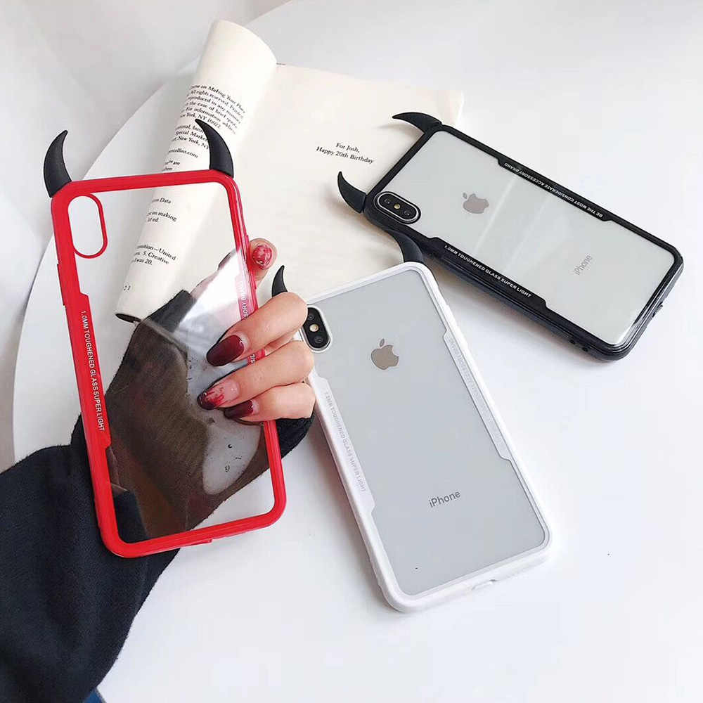 3D Şeytan Boynuz Şeffaf Acryli Kapak Samsung note10pro Telefonu Samsung kılıfı S8 S9 S10 Artı note8 note9 note10 Coque çapa