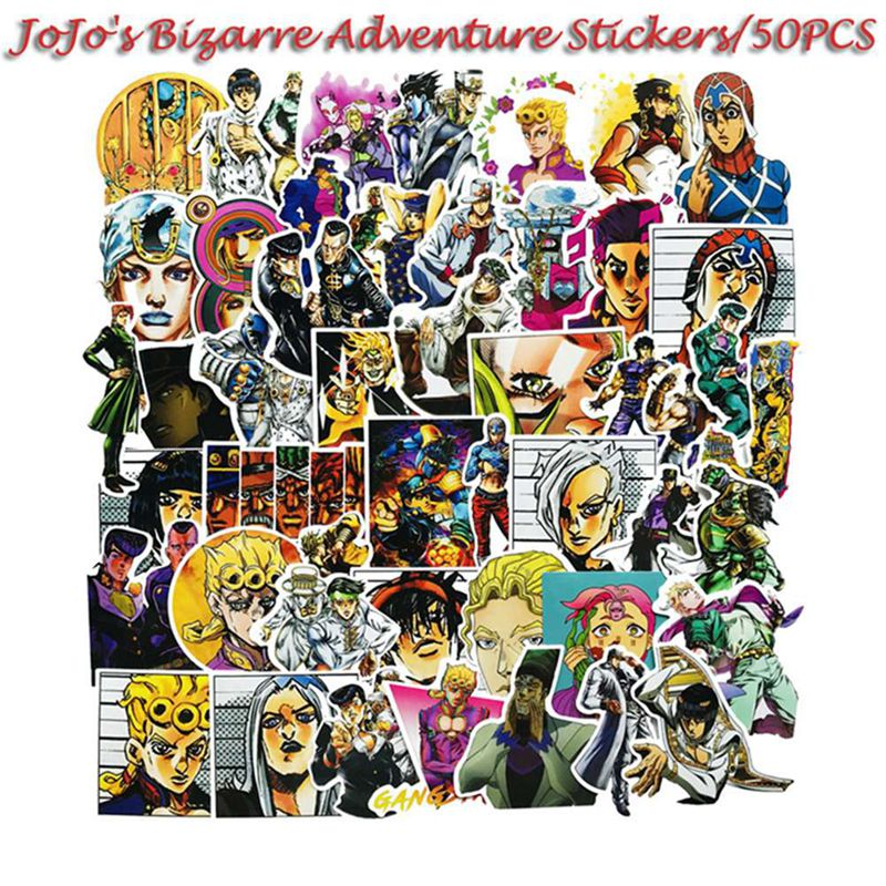 50 Pcs/Pcak JoJos Bizzare Adventure PVC Waterproof Sticker For Luggage Wall Car Laptop Bicycle Motorcycle Notebook Toys Stickers