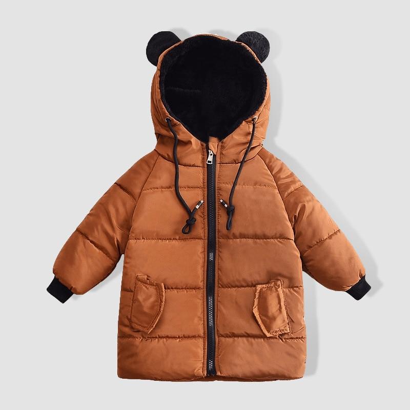 Fleece Warm Winter Long Jacket For Girls Boys Fashion Cotton Padded Cute Ear Boys Girls Down Coat Outerwear Kids Clothes