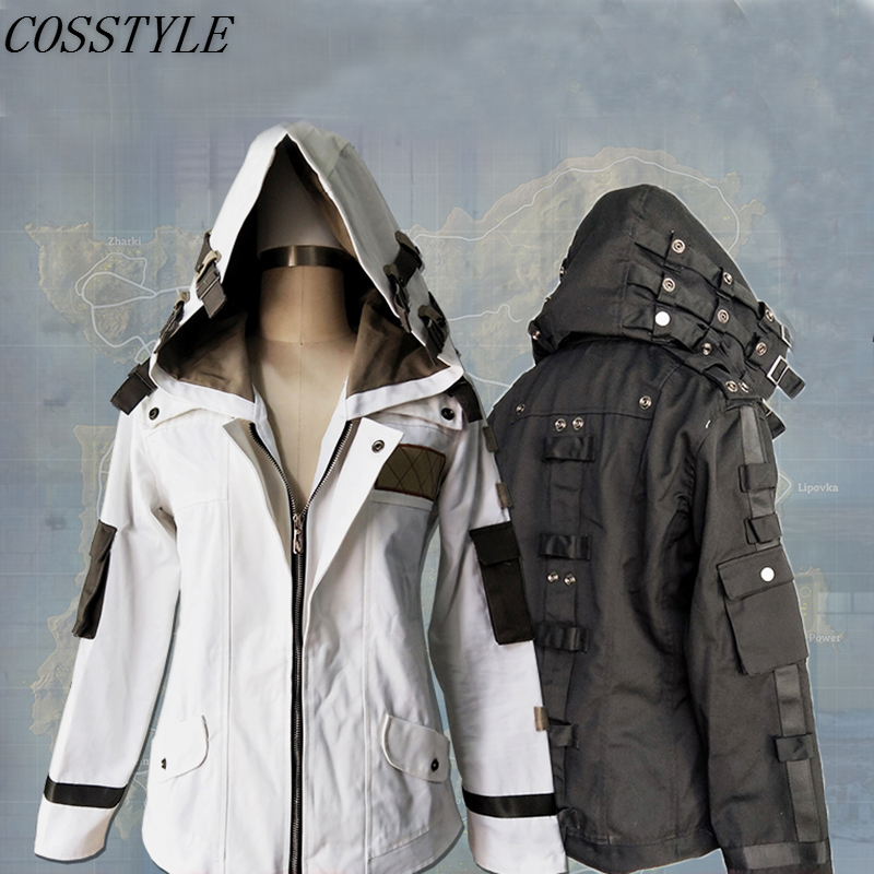 Game PUBG Playerunknown's Battlegrounds Cosplay Costumes Child Adult Hooded Coat Jacket Black White Ghillie Suit Unisex Clothes