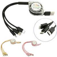 3 en 1 rétractable Multi USB câble de charge Micro USB type C cordon chargeur de téléphone portable multi-fonction ligne de données d'extension