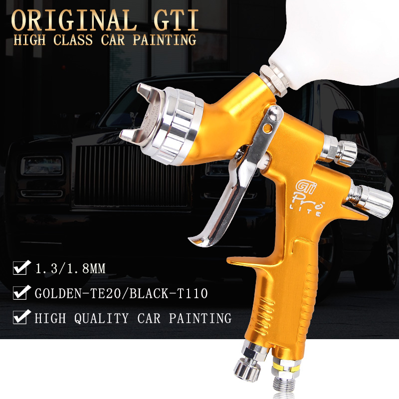 High Quality Professional Gti Pro Lite Golden Painting Gun TE20 T110 1.3mm 1.8mm Spray Gun Paint Gun Water Based Air Spray Gun