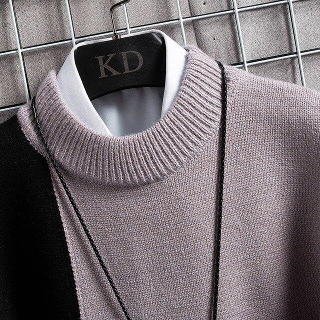Suéter cálido de Cachemira para hombre, jersey de cuello alto, suéteres en forma de retales, Tops tejidos de Navidad, invierno, nuevo 5