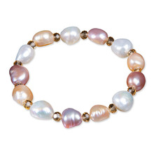 YKNRBPH Womens Elastic Baroque Pearl Bracelet Charm Bangle Women Fine Jewelry Party Anniversary Gift