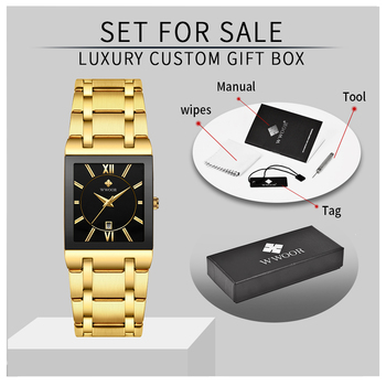 Gold Watch Men Square Mens Watches Top Brand Luxury Golden Quartz Stainless Steel Waterproof Wrist Watch