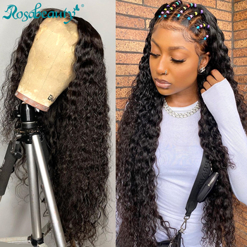 Rosabeauty głęboka fala 28 30 cal długa koronka przodu włosów ludzkich peruk brazylijski woda kręcone przednie peruki dla czarnych kobiet 4x4 zamknięcie