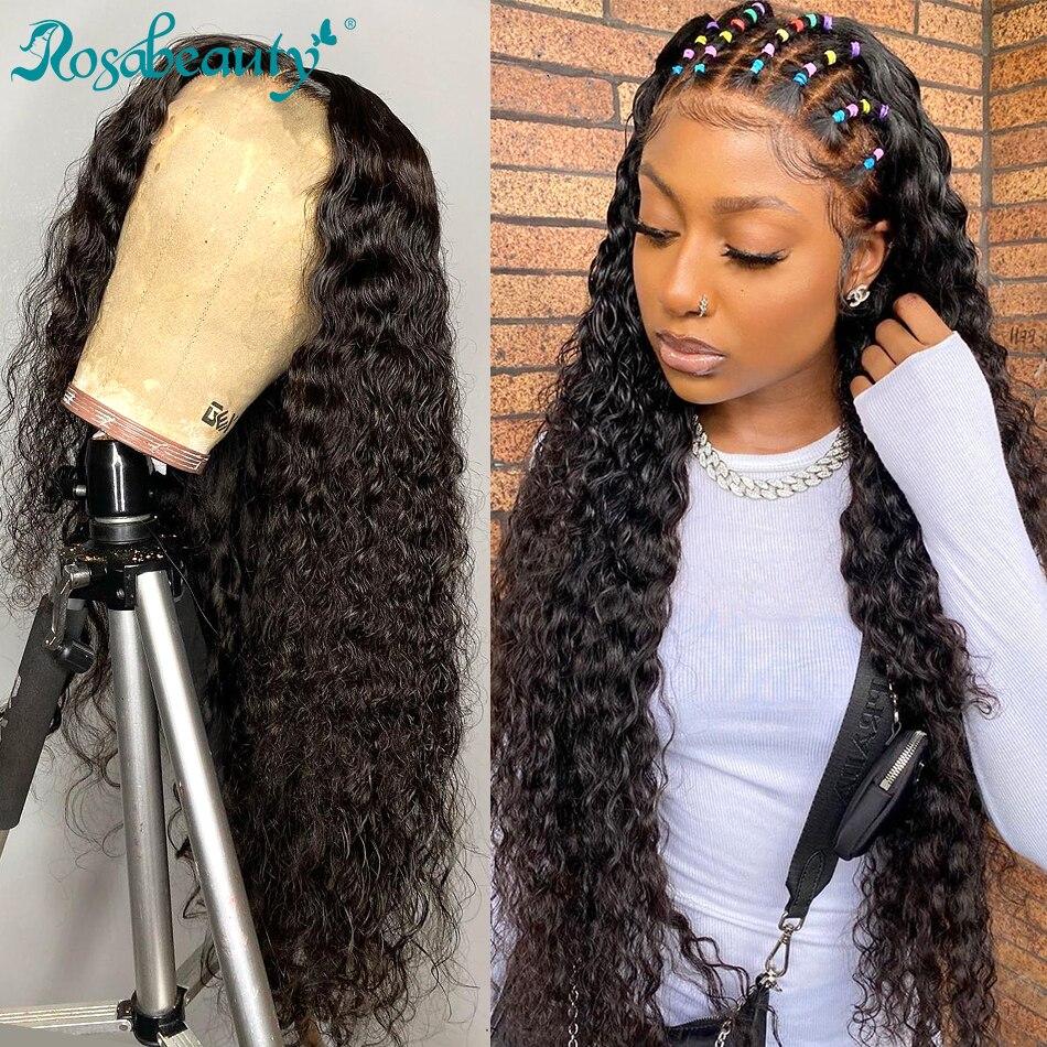 Rosbeleza onda profunda 13x4 frente do laço perucas de cabelo humano brasileiro encaracolado de água remy longo frontal perucas para preto 4x4 fechamento