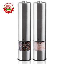 2 packs Electric salt and pepper grinding unit Electronically adjustable vibrator   Ceramic grinder   Automatic one handed