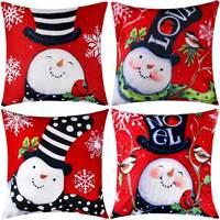 4 sztuki poszewka na poduszkę poszewka na poduszkę bawełniana lniana poduszka dekoracje na boże narodzenie jesień  18 na 18 Cal w Poszewka na poduszkę od Dom i ogród na