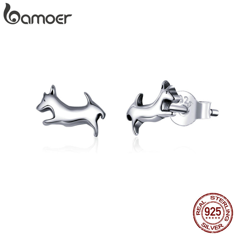 Bamoer Puppy Dog Animal Stud Earrings For Women Real Sterling Silver 925 Hypoallergenic Silver Jewelry Girl Gifts SCE818