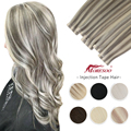 Moresoo Injection Tape in Human Hair Extensions Virgin Hair Double Drawn Natural Straight Seamless Injected PU Skin Weft Hair
