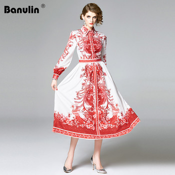 Banulin 2020 Spring Runway Designer Retro Floral Print Shirt Dress Women Long Lantern Sleeve Button Down Elegant Midi