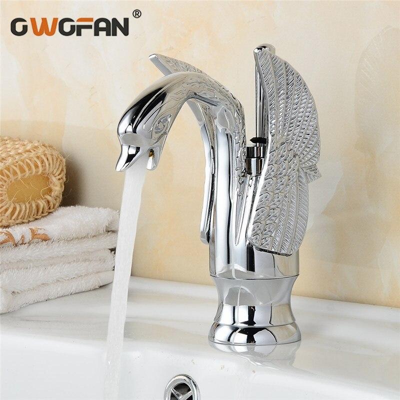 Moderne nouveau cygne Design bassin robinet salle de bains poignée unique Chrome finition haute arche luxe robinets chaud et froid mélangeur robinets HJ-35L