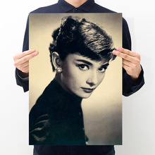 Room decoration star Hepburn poster retro kraft paper bar cafe decoration painting art wall sticker