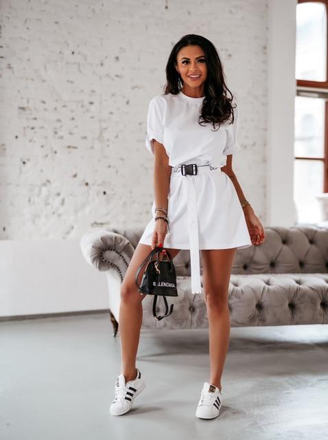 NEDEINS Summer Dress Women Solid Color Dress Casual Loose Dresses Summer Fashion Dress 2020 including Belt 8