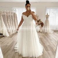 MaryLeeBrial Plus Size Lace Wedding Dresses Off Shoulder Long Train Bride Dresses White Ivory Appliques Custom vestidos de novia