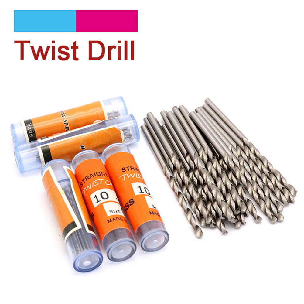 10pcs HSS Straight Shank Twist Drill Bit Set High Speed Steel Drill Bits For Metals Stone Tiles Hole Punching 0.6mm