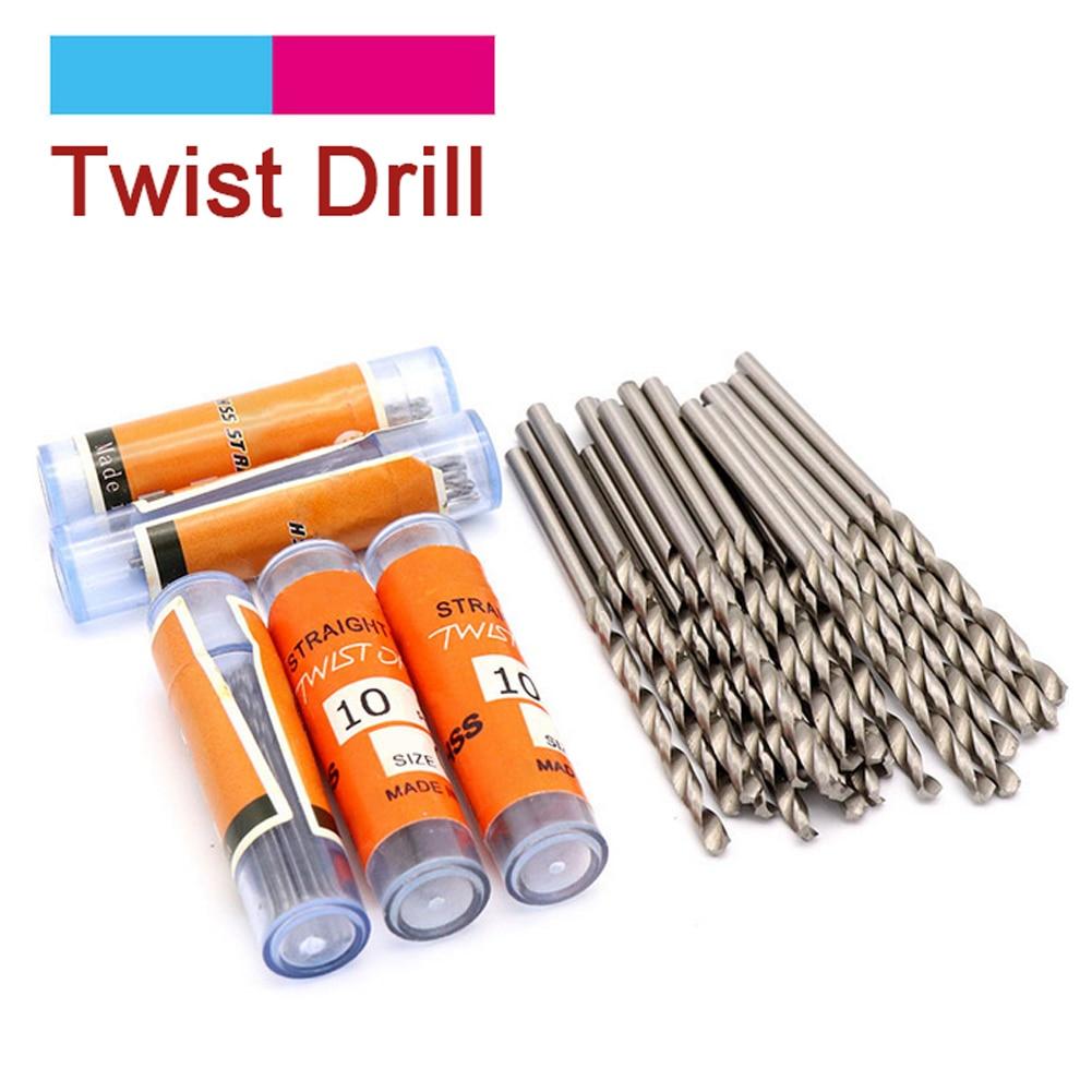10pcs HSS Straight Shank Twist Drill Bit Set High Speed Steel Drill Bits For Metals Stone Tiles Hole Punching 0.6mm