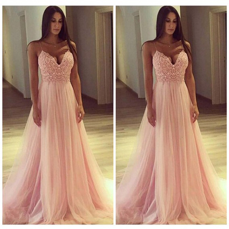 BacklakeGirls Sexy V Neck Sleeveless Strap Lace Evening Dress For Wedding Party Formal Pink Tulle Dress Vestidos Longos De Festa