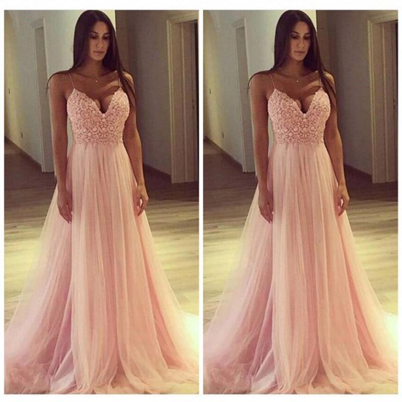 BacklakeGirls Sexy V Neck Sleeveless Strap Lace Evening Dress For Wedding Party Formal Pink Tulle Dress Vestidos Longos De Festa