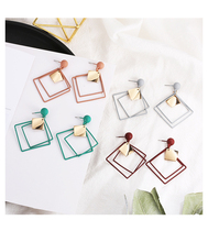 Korean style personality cold wind geometric earrings fashion wild hollow metal square earrings