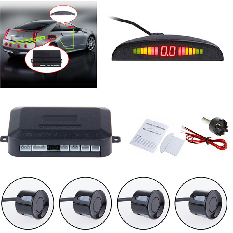 Car Auto Reversing LED Parking With 4 Sensors Reverse Backup Car Audio Buzzer Alarm Monitor Detector System Display|Parking Sensors| |  - title=