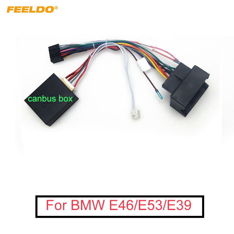 FEELDO 1PC Car Audio Radio 16PIN Android Power Cable Adapter With Canbus Box For BMW E46 E53 E39 DVD Power Wiring Harness