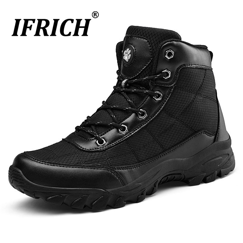 Promo 2019 New Luxury Mens Fur Boots Winter Warm Working Boots Men Large Size Black Ankle Military Men Boots Outdoor Trekking Shoes