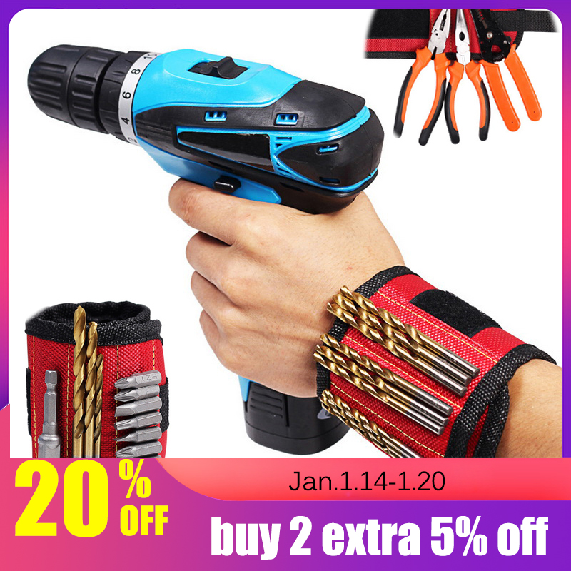 2 Magnets Screws Nails Drill Bits Electrician Bag Magnetic Wristband Portable Small Tool Bag Magnetic Bracelet For Tools
