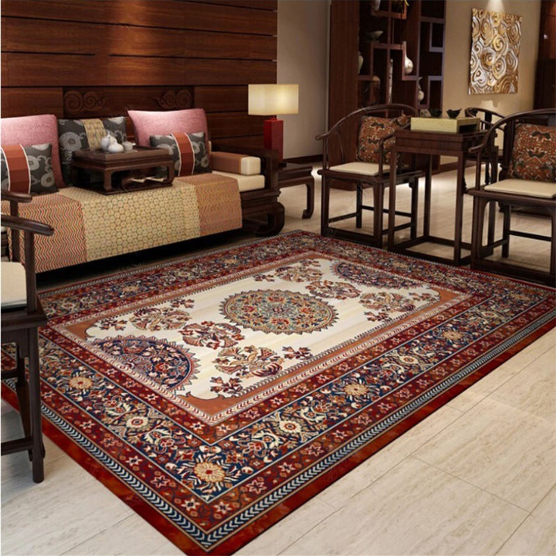 Carpets For Living Room Chinese Persian Red Brown Pattern Rug Floor Mat  Living Room Table Accessories Christmas Rug Cheap Carpet Tiles Braided Rug  ...