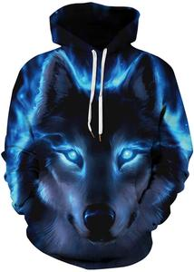 Men's Patterns Print 3D Sweaters Fashion Hoodies Sweatshirts Pullover (XXL/XXXL, 001-1lighting Wolf)