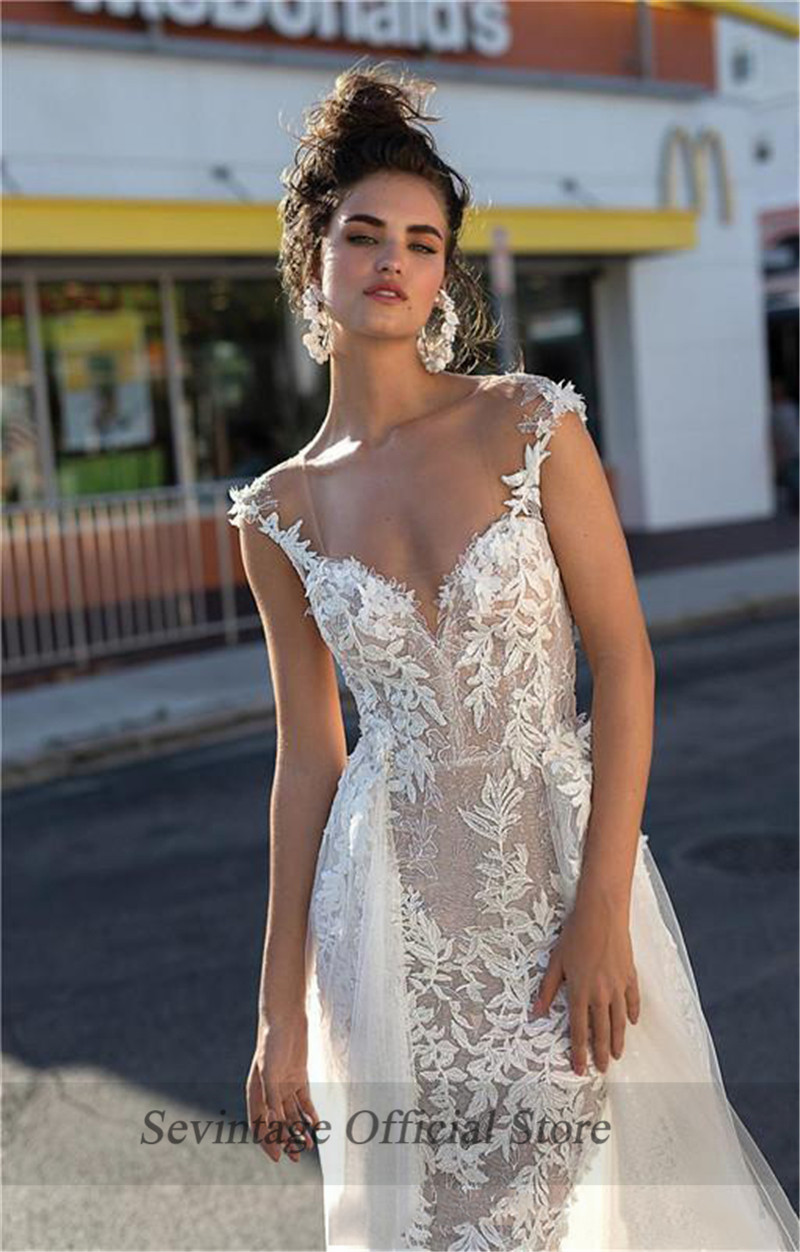 Sevintage Mermaid Lace Appliqued Wedding Dresses Boho Illusion Neckline Backless Bridal Gowns with Removable Train Vestido Novia