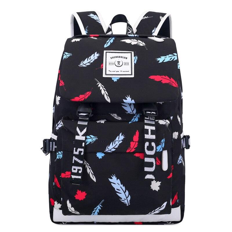 CJH Backpack Female High School Student Bag Primary School Students Junior High School Students Leisure Travel Backpack Black Butterfly Bag