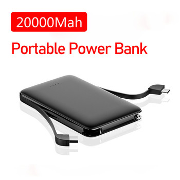 Mobile Power Bank 20000mah Fast Charging Built in Cables External Battery Portable Charger for Iphone Xiaomi Huawei Samsung
