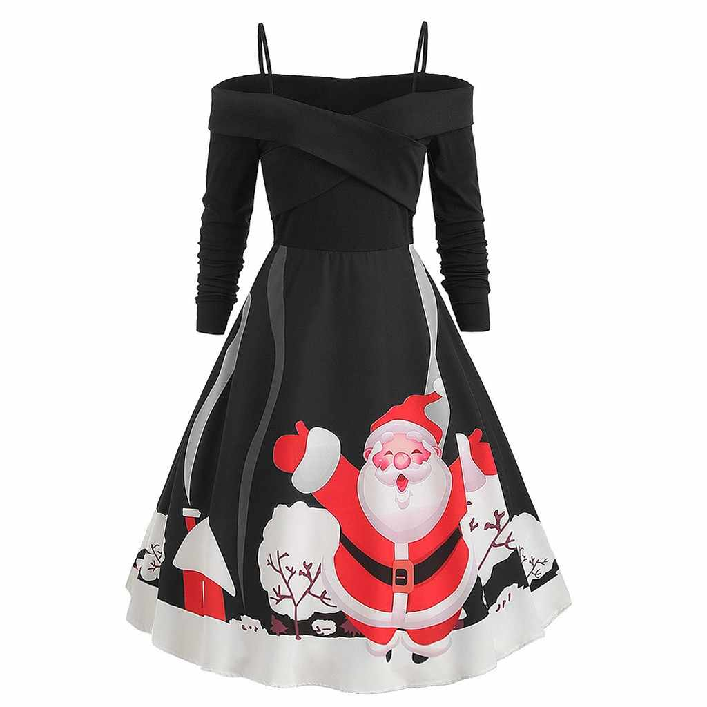 Women's Sling Off-Shoulder Dress Christmas Santa Claus Print Zipper Long Sleeve Party Black Dress vestidos vadim ropa mujer